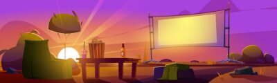 Naklejka Outdoor cinema at sunset summer landscape, open air movie theater with beanbag chair, beer, pop corn bucket on low table front of large outdoors screen on dusk background Cartoon vector illustration