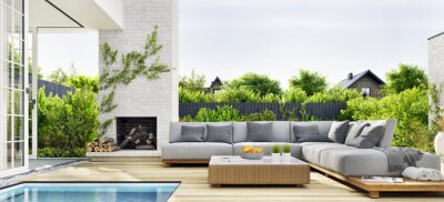 Naklejka Outdoor patio area with garden furniture, swimming pool and outdoor fireplace