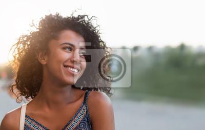 Naklejka Outdoor portrait of smiling african american girl