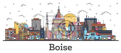 Naklejka Outline Boise Idaho City Skyline with Color Buildings Isolated on White.