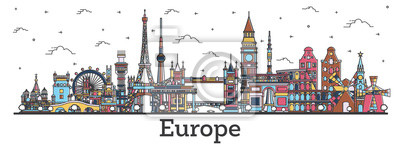 Naklejka Outline Famous Landmarks in Europe. Business Travel and Tourism Concept with Color Buildings.