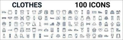 Naklejka outline set of clothes line icons. linear vector icons such as brassiere,shutter sunglasses,lingerine set,denim shirt,padded vest,sweatshirt,blazer,tank top. vector illustration