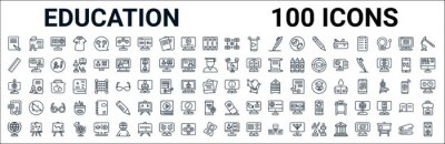 Naklejka outline set of education line icons. linear vector icons such as diploma,ruler,knowledge,web camera,information,pdf,eraser,online class. vector illustration