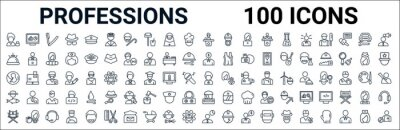 Naklejka outline set of professions line icons. linear vector icons such as computer systems analyst,concierge,financial manager,obstetrician and gynecologist,superhero,fisherman,swat,statistician. vector