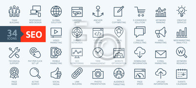 Naklejka Outline web icons set - Search Engine Optimization. Thin line web icon collection. Simple vector illustration.