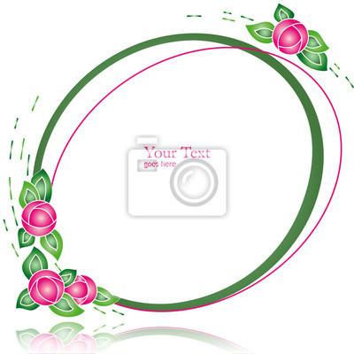 Owalne Prosta ramka z abstrakcyjne kwiaty