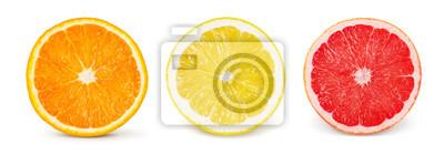 Naklejka Owoc cytrusowy. Pomarańczowy, cytrynowy, grejpfrutowy. Zestaw połówek