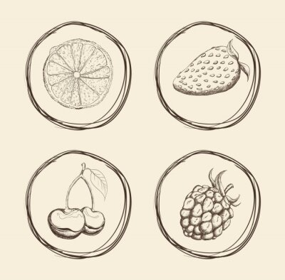 Naklejka Owoce ikonę projektowania