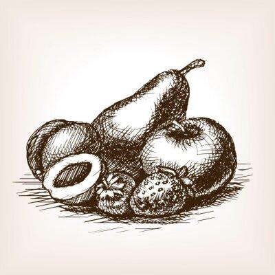 Naklejka Owoce wyciągnąć rękę styl szkic wektor