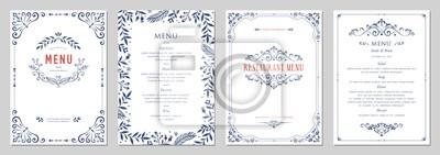 Naklejka Ozdobne klasyczne szablony w stylu vintage. Menu weselne i restauracyjne.