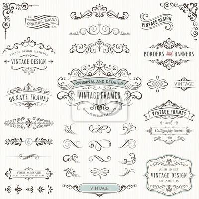 Naklejka Ozdobny zabytkowe elementy projektu z swirls kaligrafia, znaki kaligraficzne, ozdobnymi motywami i zwoje. Ramki i transparenty.