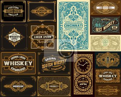 Naklejka Pack of 16 vintage designs for packing