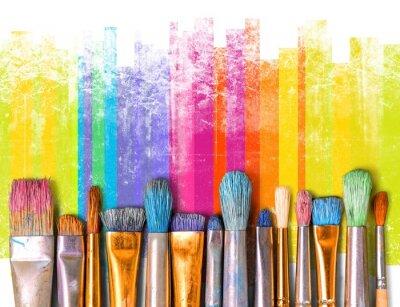Naklejka Paintbrush sztuki farby twórczości rzemiosła tła wystawa
