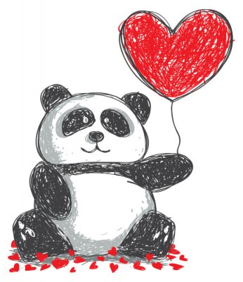 Naklejka Panda doodle z miłości balonu