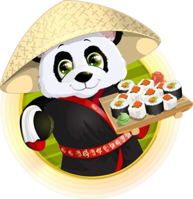 Naklejka Panda sushi