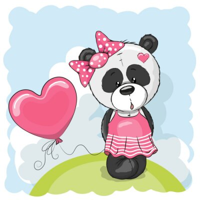 Naklejka Panda with balloons