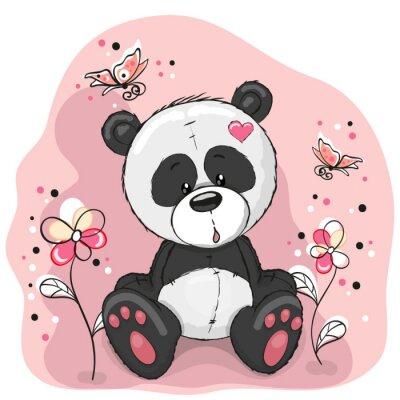 Naklejka Panda z kwiatami