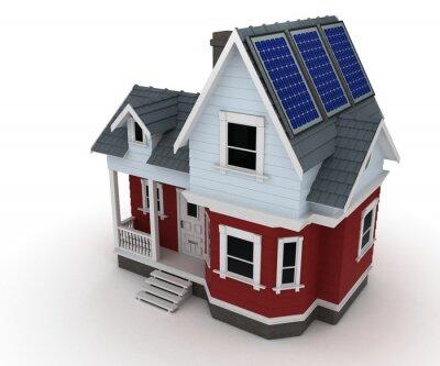 Naklejka Panele słoneczne na dom