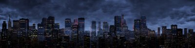 Naklejka Panorama miasta nocy