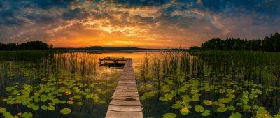 Naklejka Panorama of beautiful sunrise over lake