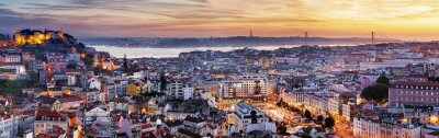 Naklejka Panorama of Lisbon at night, Portugal