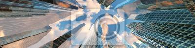 Naklejka Panorama pięknych wieżowców na tle nieba z chmurami. Renderowania 3d.
