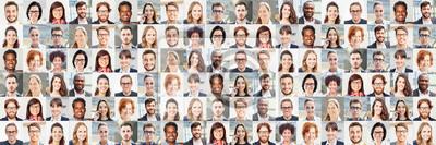 Naklejka Panorama Portrait Collage von Geschäftsleuten