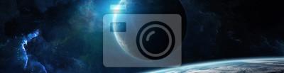Naklejka Panorama systemu odległej planety w przestrzeni renderowania 3D elementy tego obrazu dostarczone przez NASA