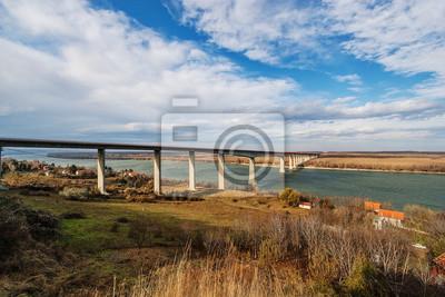 Naklejka Panorama widok na most nad rzeką