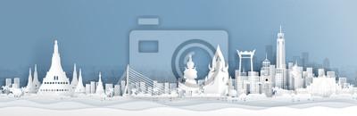 Naklejka Panorama widok Tajlandia linia horyzontu z światowymi sławnymi punktami zwrotnymi w papieru cięcia stylu wektoru ilustraci