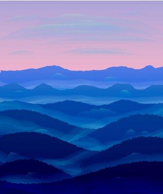Naklejka Panorama wzgórza. Zachód słońca. Mgła.