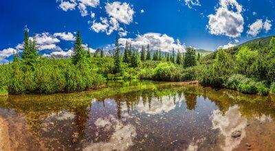 Naklejka Panorama z małego jeziora w Tatrach