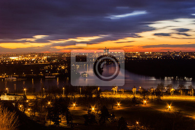 Panoramę miasta o zmierzchu, Belgrad, Serbia