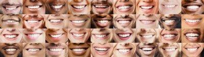 Naklejka Panoramic collage of multiethnic people white smiles