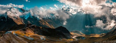 Naklejka Panoramic Image of Grossglockner Alpine Road. Curvy Winding Road in Alps.