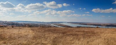Naklejka Panoramic view of Belgrade, Serbia, Danube river, beautiful blue sky with clouds