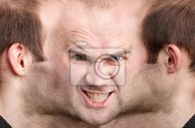 Naklejka Panoramiczny face złośliwego człowieka