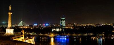 Naklejka Panoramiczny widok na Dunaju w nocy, Belgradzie, Serbia
