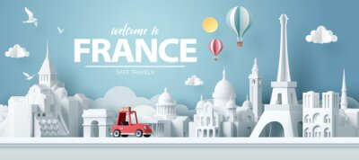 Naklejka Paper art of red car take travel to paris after covid outbreak end, safe travels and journey in paris concept