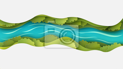 Naklejka Paper layer cut of top view landscape in forest with trees, river, cloud and narrow valley. Landscape design on paper art. paper cut and craft style. vector, illustration.