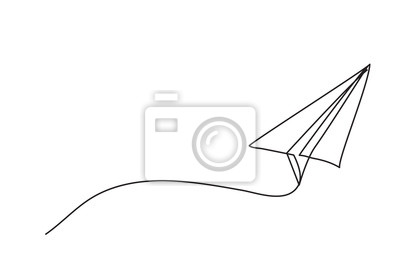 Naklejka Paper plane drawing vector using continuous single one line art style isolated on white background.