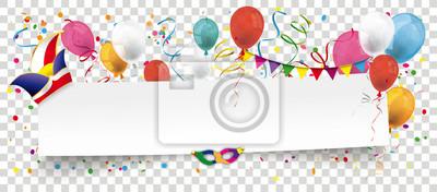 Naklejka Papier Banner z Narrenkappe, Konfetti und Luftballons Transparent