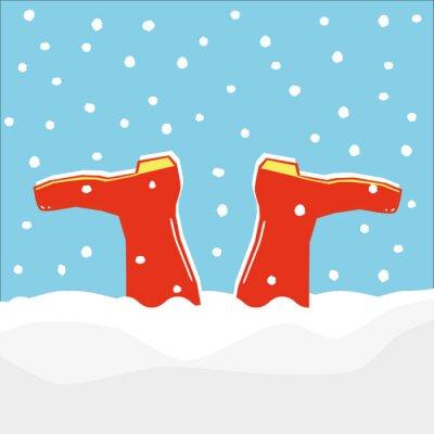 Naklejka Para czerwone kalosze lub kaloszy zatrzymany do góry nogami w dryf dokonanej przez padający śnieg