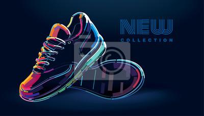 Naklejka Para nowych butów do biegania. Banner w cyfrowym obrazie
