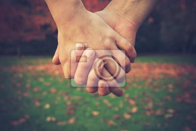 Naklejka Para trzymając się za ręce w parku