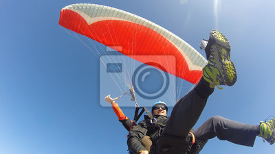 Naklejka Paraglider tandem from below