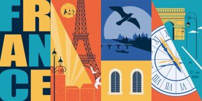 Naklejka Paris, France vector skyline illustration, postcard. Travel to France modern flat graphic design element