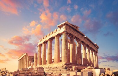 Naklejka Partenon na Akropolu w Atenach, Grecja, na zachód słońca