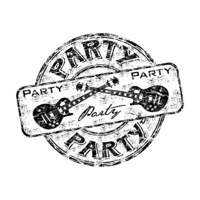 Naklejka Party pieczątka grunge z przecinające gitary