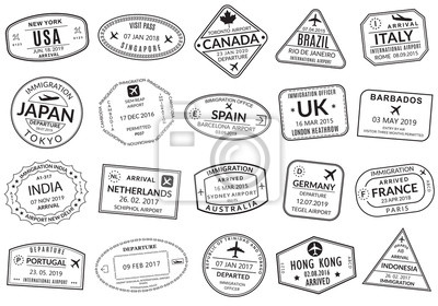 Naklejka Passport stamp set. Visa stamps for travel. International airport sign. Immigration, arrival and departure symbols with different cities and countries. Vector illustration.